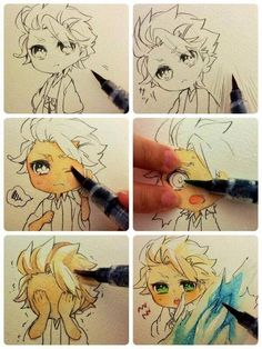 "✮ ANIME ART ✮ anime boy. . .""WIP"" work in progress. . .chibi. . .coloring. . .marker. . .lineart. . .ink. . .cute. . .expressive. . .moe. . .kawaii"