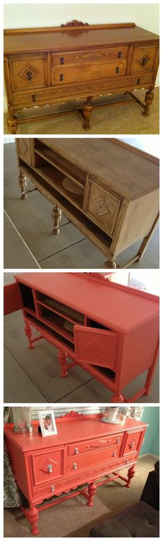 DIY painted furnitue. chalk paint. coral hutch  popular with the poplins