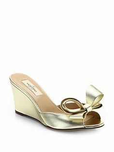 Valentino Couture Bow Metallic Leather Wedge Slides