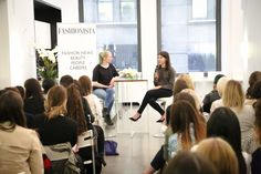 "Fashionista's Eliza Brooke and Into the Gloss and Glossier co-founder Emily Weiss at Fashionista's ""How to Make It in Fashion"" meetup in New York on Wednesday. Photo: Nina Frazier Hansen/Fashionista"