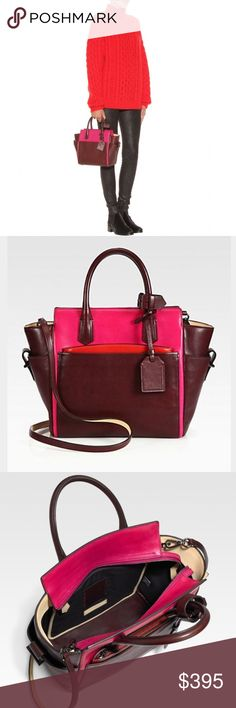 Reed Krakoff Mini Atlantique colorblock tote This is a the gorgeous 'Mini Atlantique' tote by Reed Krakoff from the designer collection. Color is called 'Crimson' and this stunning colorblock design features burgundy, fuschia, and red elements. Gorgeous gunmetal hardware. An amazing way to add color to any outfit. Red pouch is removable and can be carried as a clutch. Adjustable crossbody strap. 100% authentic, authenticity cards included. Reed Krakoff Bags Crossbody Bags