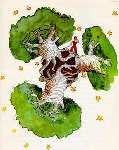 """""""Le Petit Prince et les Baobabs"""" Illustration de Antoine de Saint-Exupéry"""