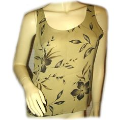 *SOLD*. NEW JONES New York OLIVE GREEN Floral Flowers SLEEVELESS Career TANK TOP $1 sorry SOLD ... we sell more WOMENS TOPS, DRESSES and CLOTHES at http://www.TropicalFeel.com