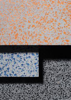 lenolium, speckled pattern, orange, blue, gray, tile, TERRAZZO_LA_07swatches