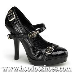Pinup Couture Shoes Secret Mary Jane Croc Heel Shoes