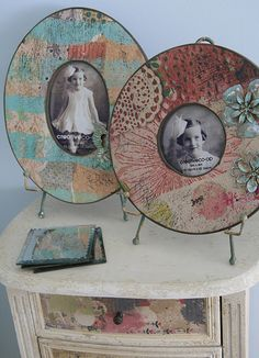 cute photo frames - thinking the round one could be done with an old CD?