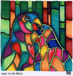 Love in the Wild Tiffany Art, Stained Glass Birds, Geometric Painting, Africa Art, Rainbow Art, Hanging Wall Art, Learn To Paint, Silk Painting, Pictures To Paint