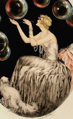 Louis Icart Bubbles Fr Etching Art Deco 20s 30s Icart Women Fashion Print
