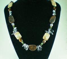 Ironstone+Jasper+and+Glass+Necklace+by+DavyJonesTreasures+on+Etsy,+$28.00