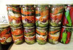 ru wp-content uploads 2014 07 salat-polosatii-na-zimu-foto. Top Salad Recipe, Salad Recipes, Fun Cooking, Cooking Recipes, Home Canning, Russian Recipes, Vegetable Salad, Zucchini, Kimchi