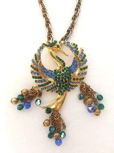 Alice Caviness Rare Vintage Rhinestone Phoenix Bird Necklace    eBay