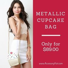 This sugary sweet bag features a cupcake shape formed from smooth leatherette at the top and quilted metallic leatherette at the base. Love it? Get it on www.AccessoryHut.com  #Accessoryhut #crossbags #accessories #prettydress #fashiondiaries #nikeshoes #
