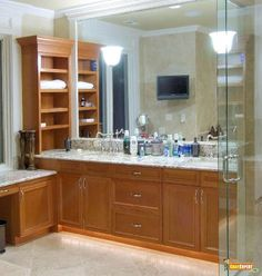 Bathroom wall cabinet.  The shelves on the end of the vanity supply extra storage places!