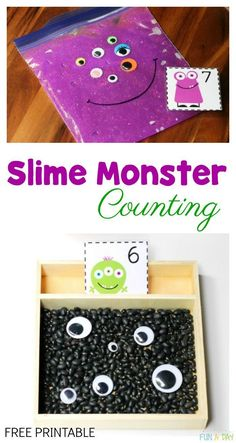 Slime Monster Counting Activity - Love this sensory math activity ideas and the free printable number cards! #Preschool #PreschoolActivities #MathCenters #PreK #FunADay #KidActivities #FreePrintable