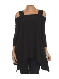 314435e72e6 Womens Black Asymmetrical 3/4 sleeve tunic with cold shoulder cut outs at  Amazon Women's
