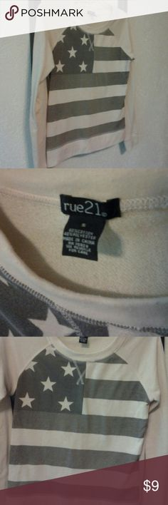 Rue21 American Flag Sweater Cream and Grey American Flag sweater. Adorable and Comfy! Rue 21 Tops Sweatshirts & Hoodies