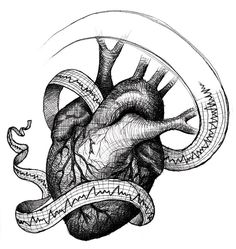 Vintage style drawing with EKG strip. Beautiful black and grey shading.instead of the ekg I want music notes! Ems Tattoos, Kunst Tattoos, Future Tattoos, Heart Illustration, Illustration Sketches, Arte Black, Herz Tattoo, Geniale Tattoos, Medical Art