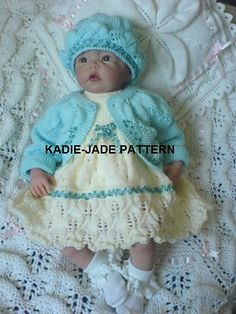 A knitting pattern to make a 3 piece dress set in size 0-3m and 3-6m the smaller size uses 4 ply yarn and the larger size double knitting yarn