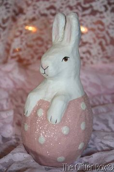 Bethany Lowe Vintage Style Pink Paper Mache Easter Bunny Figurine In Egg TJ5290