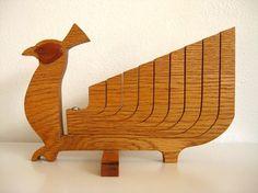 Danish Modern Wooden Bird Candelabra