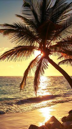 sun setting off the island