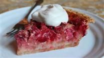 Rhubarb pie recipe- Preheat oven to 450 degrees F.  Combine 1.3 cups sugar and 6 tbsp flour. Sprinkle 1/4 of it over pastry in pie plate. Heap rhubarb over this mixture. Sprinkle with remaining sugar and flour. Dot with small pieces of butter (we subbed coconut oil).  Place pie on lowest rack in oven. Bake for 15 minutes. Reduce oven temperature to 350 degrees F, and continue baking for 40 to 45 minutes. yum!