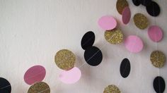 Black Pink Gold glitter Circles paper garland by HelenKurtidu Girl Baby Shower Decorations, Kids Party Decorations, Wedding Decorations, Girl Birthday, Birthday Parties, Circle Garland, Garland Wedding, Gold Glitter, Pink And Gold