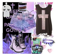 """Pastel Goth"" by cheyenne-wilmes ❤ liked on Polyvore featuring River Island, Manic Panic, women's clothing, women's fashion, women, female, woman, misses and juniors"