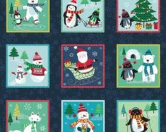 Makower Fabric: Frosty Label Strip on Dark Blue Twelve Days Of Christmas, Modern Christmas, Christmas Themes, Holiday Decor, Quilt Kits, Quilt Blocks, Mini Stockings, Etsy Fabric, Traditional Fabric