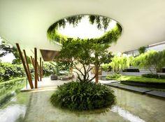 nachhaltige Architektur Ideen für Begrünung-überdachte terrasse-wasseranlage