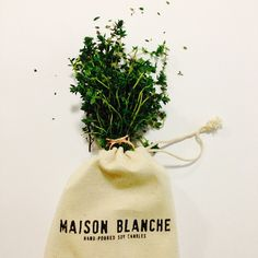 """""""#REUSE your Maison Blanche 100% cotton drawstring bag for fruit, vegetables, #herbs or coffee beans. They're machine washable and protect food from…"""""""