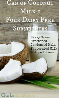 Four Great Dairy Free Substitutes Need a dairy free substitute? Coconut milk to the rescue! Here are four ways to use coconut milk to make substitutes for heavy cream, sweetened condensed milk, evaporated milk, and whipped cream! Lactose Free Recipes, Dairy Free Diet, Gluten Free, Paleo Dairy, Lactose Free Desserts, Lait Vegan, Whole Food Recipes, Cooking Recipes, Milk Recipes