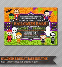 Halloween Birthday Invitation, Kids Halloween Party Invitation, Costume Party Invitation, Halloween Birthday Party Invitations by WolcottDesigns on Etsy