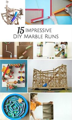 Lots of fun and creative ideas to make a marble run, many using recycled materials.