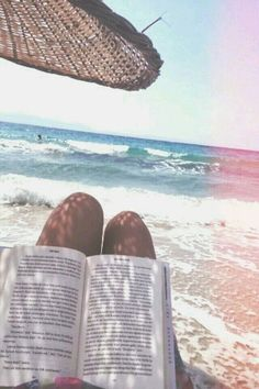 Reading next to the ocean