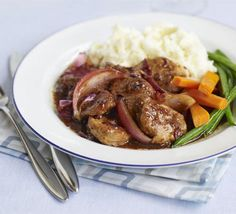 Use up leftover Christmas cranberry sauce in this quick pork braise, lovely with a dollop of mash