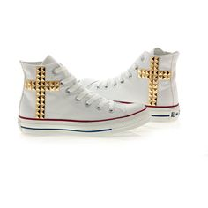 Studded Converse, Converse White High Top with Gold Cross Pattern... ($95) ❤ liked on Polyvore featuring shoes, sneakers, tennis shoes, gold tennis shoes, converse sneakers, hi top tennis shoes, white hi tops and converse high tops