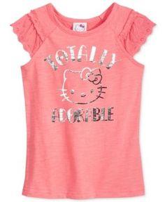 Hello Kitty Flutter-Sleeve Graphic T-Shirt, Toddler & Little Girls (2T-6X) - Pink 6X