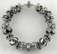 Authentic PANDORA Bracelet with BLACK & WHITE European Charms & Murano Beads - http://elegant.designerjewelrygalleria.com/pandora/authentic-pandora-bracelet-with-black-white-european-charms-murano-beads/