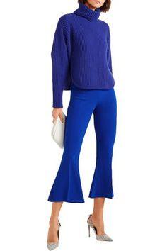 Antonio Berardi Cutout Ribbed Wool And Cashmere-blend Turtleneck Sweater In Indigo Antonio Berardi, World Of Fashion, Hemline, Indigo, Cashmere, Turtle Neck, Wool, Clothes For Women, Long Sleeve