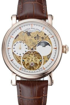 Replica Patek Philippe Moonphase Tourbillon Automatic Mens Watch with White/Gold Skeletonized Dial, Rose Gold Case and Brown Leather Strap
