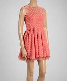 Coral Dot Sleeveless Dress
