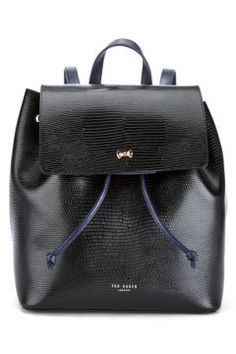 Ted Baker Women's Inara Metal Bow Exotic Detail Backpack - Black #modasto #giyim #moda https://modasto.com/ted-ve-baker/kadin/br5094ct2