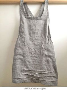 linen pinnie - Picmia. Inverted pleat releases over irregular pin tucks on front sides. Neckline flat across front and tapered shoulder straps. Random appearing pin tucks across bottom front add interest. Appears to be v-opening in back