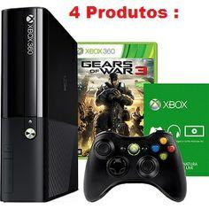 Console Xbox 360 4GB   Game Gears of War 3   1 mês de Live Gold Grátis   1 Controle sem Fio R$ 699,90 12x de R$ 58,32 sem juros