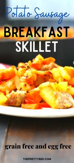 No need for eggs with this hearty potato sausage breakfast skillet! A blend of potatoes, onions, sweet potatoes, and sausage will fill you up in the morning. #skillet #breakfast #recipes