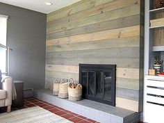 Design*Sponge | wood wall - grey stain - would go with white stain on pine boards