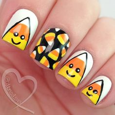 Cute little #candycornnails  For more info including polishes used as well as a video tutorial please visit www.cdbnails.com :)