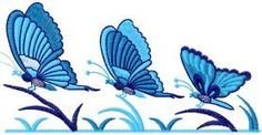 Three butterflies free embroidery design. Machine embroidery design. www.embroideres.com