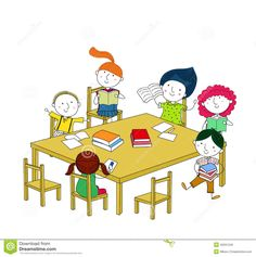 Children Write And Read, Sitting At The Table. Stock Vector - Illustration of education, picture: 45031246 Preschool Rules, Kids Writing, Story Inspiration, Kids Rugs, Cartoon, Education, Reading, Children, Creative